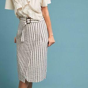 Anthropologie Wrap Striped Pencil Midi Skirt
